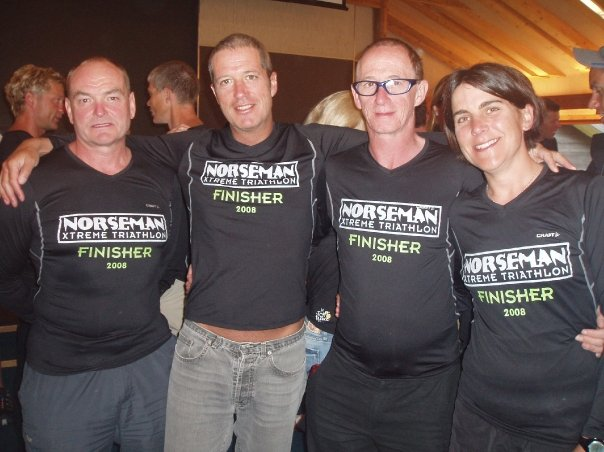 Four coached athletes with the coveted Norseman Black 'T' shirt. Stacey finished 5th lady.