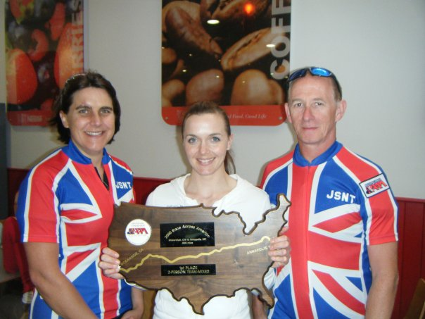 Victoria Pendleton Olympic Champion holding our RAAM Winners Trophy